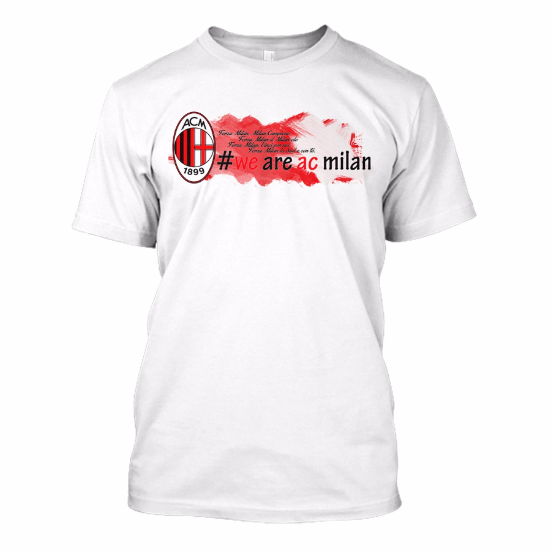 Kaos Bola AC MILAN Custom Desain - [ Putih ]